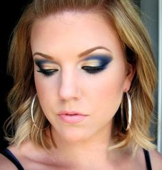 Navy Blue and Gold Eye Makeup