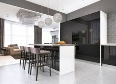 Modern kitchen with high gloss black cabinets white countertops island Light Kitchen Cabinets, Kitchen Cabinet Colors, Black Cabinets, Black Quartz Countertops, Modern Kitchen Design, Kitchen Designs, Black Kitchens, Traditional Kitchen, High Gloss