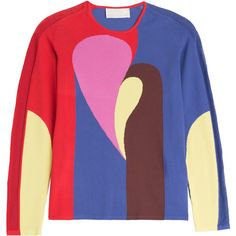 Peter Pilotto Color Block Pullover ($385) ❤ liked on Polyvore featuring tops, sweaters, multicolor, long sleeve sweaters, blue sweater, slim fit sweater, block sweater and blue top
