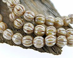 Opaque Beige Picasso Lustre 8mm Grooved Round Czech Glass Beads x 25