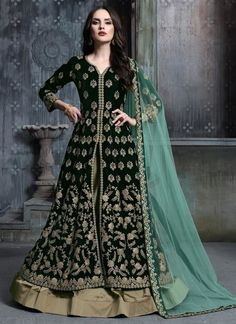Dark Green And Golden Anarkali Lehenga Suit is indian outfit specifically designed to make you look perfect on any indian wedding as bride and bridesmaids. This suit features resham kari thread and. Indowestern Lehenga, Anarkali Lehenga, Lehenga Suit, Lehenga Style, Silk Lehenga, Anarkali Suits, Churidar Suits, Indian Anarkali, Sharara Suit