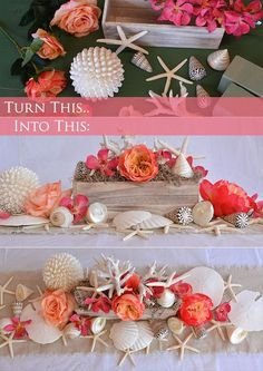 Four Fun and Beautiful Beach Wedding Reception Decor Ideas Beach Wedding Centerpieces, Beach Wedding Reception, Diy Wedding Flowers, Diy Centerpieces, Nautical Wedding, Wedding Table, Table Decorations, Beach Weddings, Wedding Ideas