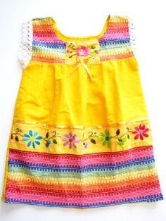La Niña Mexican baby dress in yellow handmade in Chiapas, Mexico