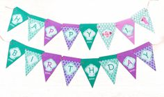 Printable bunting - Mermaid Birthday Bunting on Etsy, $4.50 AUD
