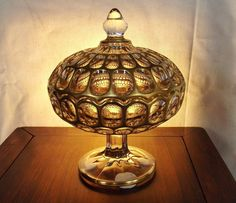 """""""Bakewell Argus"""" pattern model #973 Covered Compote with Gold Trim made by Imperial Glass Co. 6.25""""D x 8.25""""H trim.Pattern """"Bakewell Argus"""". #ImperialGlassOhio"""