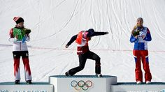 Snowboard cross gold medallist Eva Samkova from the Czech Republic dances on the podium after receiving her medal Picture Blog, Picture Video, Radios, Snowboard, Dominique, Winter Olympics, Lets Celebrate, Like A Boss, You Funny