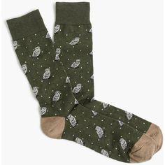 J.Crew Snowy owl print socks ($15) ❤ liked on Polyvore featuring men's fashion, men's clothing, men's socks and j crew mens socks