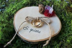 Rustic RING BEARER Pillow Wood Slice Personalized by ArtwenShop