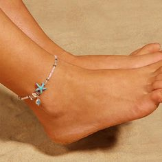 $9.61 | ZG Vintage Antique Silver Color Anklet Women Big Blue Stone Beads Bohemian Ankle Bracelet cheville Boho Foot Jewelry Outfit Accessories FromTouchy Style | Free International Shipping. Boho Sandals, Bare Foot Sandals, Teenager Fashion Trends, Beaded Starfish, Little Girl Jewelry, Ankle Chain, Beaded Anklets, Ankle Bracelets, Stone Beads