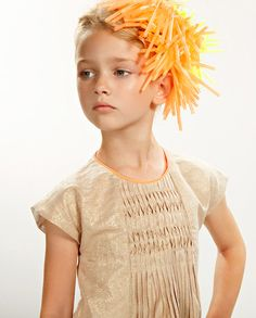 Anne Kurris summer 13 kidswear , a chic metallic dress with just a hint of orange trim Little Girl Fashion, Kids Fashion, Girl Trends, Metallic Dress, Kid Styles, Petite Fashion, Editorial Fashion, Kids Outfits, Summer 2016