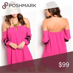 30% Off Bundles! Magenta Off-the-Shoulder Dress This dress is so easy but so stylish! This woven off-the-shoulder dress features long sleeves with gathered cuffs and a contrasting sleeve design. It is available in small, medium, and large. It is made of 100% polyester and is 26 inches long. Boutique Dresses Mini