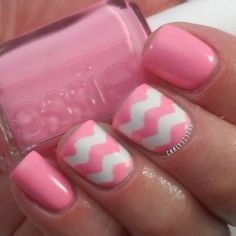 Pink and White chevron print.