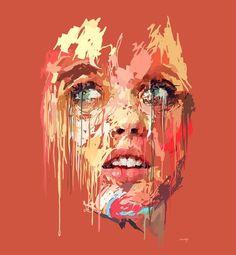 Drip-effect portrait by Marcello Castellani Human Figure Artists, Mental Health Art, Reflection Art, Art Assignments, Expressive Art, A Level Art, Gcse Art, Arte Pop, Contemporary Paintings