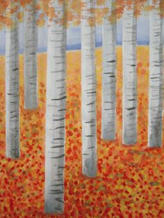 Autumn Birch Trees - painting with the help of masking tape