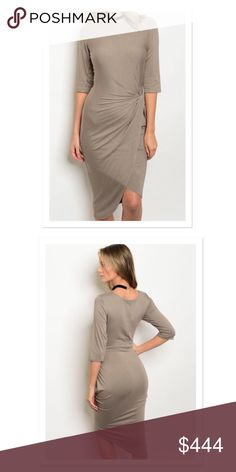 🔆COMING SOON🔆Taupe Wrap Dress COMING SOON! LIKE THIS LISTING TO BE NOTIFIED WHEN AVAIL VIA PRICE DROP! Made in USA! 95% rayon. 5% spandex. Super cute and on trend. Take it from the office to happy hour... to date night! Dresses Asymmetrical