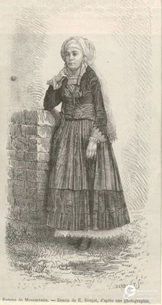 """Engraving by E.Ronjat depicting a woman from Psara. From the magazine """"Le Tour du Monde"""", Paris 1876 ©Peloponnesian Folklore Foundation, Nafplion, Greece Greek Traditional Dress, Historical Clothing, Foundation, Folklore, Paris, Greece, Sketches, Island, Gallery"""