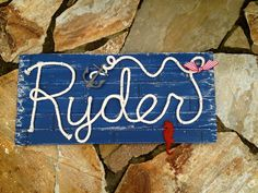 RYDER : 32 Nautical Rope Name Sign  Cottage Beach by RopeAndStyle Nautical Names, Nautical Rope, Nautical Nursery, Nursery Boy, Colored Rope, Cottage Signs, Name Signs, House Party, Shower Gifts