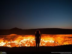 """Darwaza (Persian """"gates"""") - a gas crater in Turkmenistan.  But local residents and travelers call it the """"Door to Hell"""" or """"The Gates of Hell.""""       (Photo by Priscilla Locke):"""