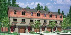 House front color elevation view for F-539 4 plex plans, townhouse plans, 4 unit apartment plans, quadplex plans, F-539