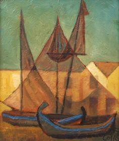 Filets le soir (bateaux contre jour) by Louis Toffoli