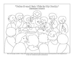 The Last Supper Bible coloring page for Kids to Learn