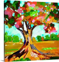 Contemporary painting of a tree in autumn colors. Autumn I Wall Art by Valeria Art. Shop colorful abstract art at Great BIG Canvas.