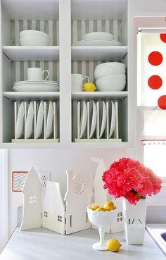 Love this wallpaper in a kitchen cabinet, sans doors cute little nook!