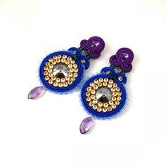 Sparkle purple - soutache earrings with Swarovski and amethysts :)