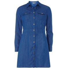 Dorothy Perkins Petite 3/4 Sleeve Denim Dress ($34) ❤ liked on Polyvore featuring dresses, blue, petite, petite dresses, blue dress, 3/4 sleeve dress, petite shirt dress and denim dress
