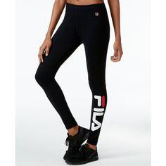 Fila Karlie Logo Leggings ($70) ❤ liked on Polyvore featuring pants, leggings, black, fila, logo pants, fila pants and legging pants