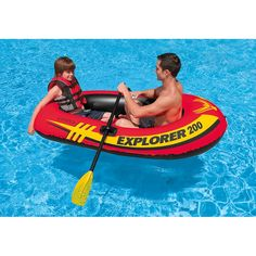 Intex Explorer 200, 2-Person Inflatable Boat Set with French Oars and Mini Air Pump 58331