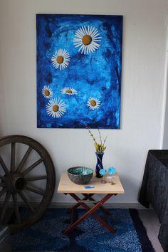 Tusindfryd på blå baggrund Painting in blue