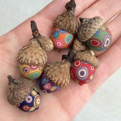Small Decorative Acorns/set of 6 - polymer clay/natural acorn tops