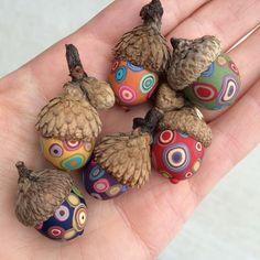 Small Decorative Acorns/set of 6 - polymer clay/natural acorn tops