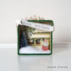 Holiday Christmas Shadow Box Vintage Ephemera 3D Mixed Media Collage - Assemblage Box Decoration. $19.50, via Etsy shop asweetreverie.