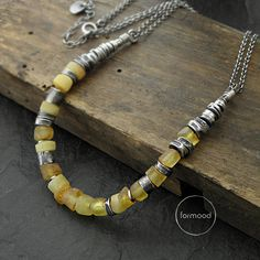 Necklace  raw sterling silver and Baltic amber by studioformood