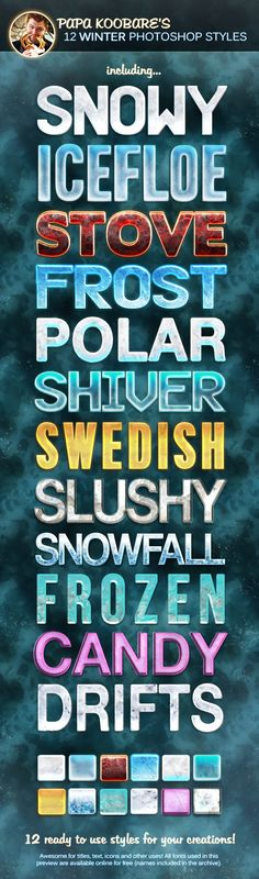 12 Winter Photoshop Styles - Text Effects Styles