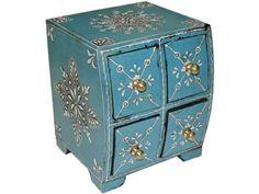 Caja madera 4 cajones azul pintada grabada - 44,90€