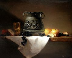 """Two Golden Apples 16"""" x 20"""" Oil on Linen Available at New Masters Gallery"""