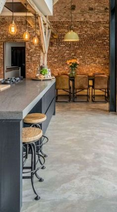 Are microcement and micro concrete the same thing? The short answer is No, they are not but the misunderstanding between the two products is not surprising. Polished Concrete Kitchen, Micro Concrete, Concrete Kitchen Floor, Polished Concrete Flooring, Painted Concrete Floors, Plywood Floors, Concrete Countertops, Laminate Flooring, Concrete Floors In House