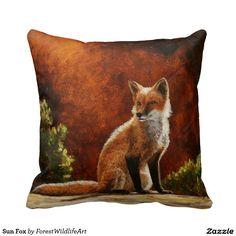 Sun Fox Throw Pillows