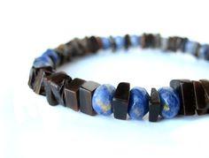 """Men's bracelet, mens surfer jewelry handmade from blue sodalite and black pen shell. """"Ol' Blue Eyes"""""""