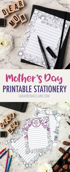These Mother's Day letterheads are the perfect stationery for a letter to your mom on Mother's Day. There are three designs available, including hearts, flowers and a tea party theme. New Year's Crafts, Holiday Crafts, Adult Crafts, Mother's Day Printables, Tea Party Theme, Printable Adult Coloring Pages, Coloring Tutorial, Mothers Day Flowers, Small Letters