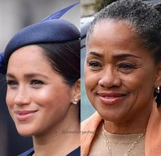 ⠀ Mother/daughter are identical, don't you think ? ⠀ -⠀ Collage by ⠀ Meghan Markle Mom, Meghan Markle Style, Megan Markle Prince Harry, Prince Harry And Megan, Harry And Meghan News, Doria Ragland, Royal Family Pictures, Prinz Harry, African Royalty