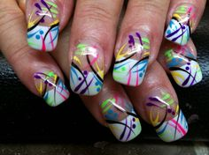 splatter paint design. wouldn't do it on all of them, just one as an accent.