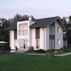 ELK house 153 with office extension & gable – ELK prefab house Prefabricated Houses, Prefab Homes, House Roof, My House, Gable House, Roof Architecture, Modern House Design, House Floor Plans, Detached House