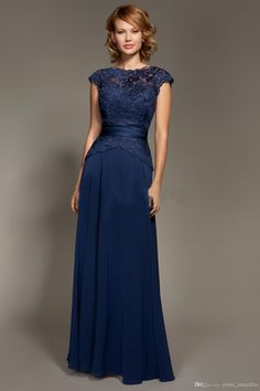 Wholesale Evening Dress - Buy 2014 Dark Blue Scoop Neckline Lace Chiffon Cap Sleeves Mother Of The Bride Dresses Floor-Length Mommy Dresses, $86.99 | DHgate