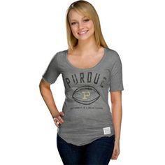 Original Retro Brand Purdue Boilermakers Women's Drew Brees Tri-Blend Scoop-Neck T-Shirt