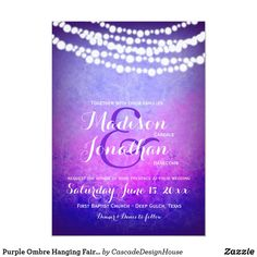 Shop Purple Ombre Hanging Fairy Twinkle Lights Wedding Invitation created by CascadeDesignHouse. Wedding Invitations Online, Wedding Invitation Templates, Custom Invitations, Twinkle Lights Wedding, Dream Wedding, Wedding Day, Wedding Stuff, Purple Ombre, Twinkle Twinkle