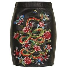 TopShop Snake Embroidered Mini Skirt